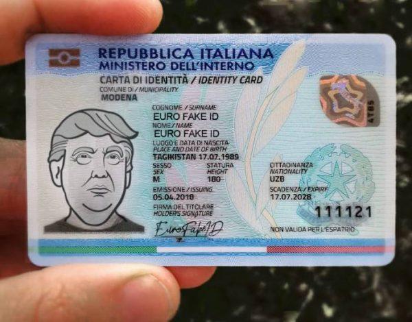 cara di identità falsa italia